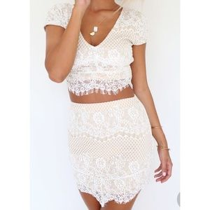 Sabo Skirt Lace Crop Two-Piece Set